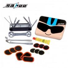 【21699】SAHOO 鲨虎 Q版动漫骑行小人系列铁盒自行车维修补胎组合工具套装